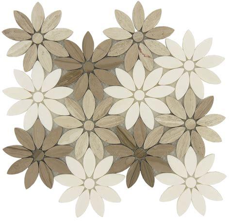 Flower cream beige stone flower tile polished bqt 673