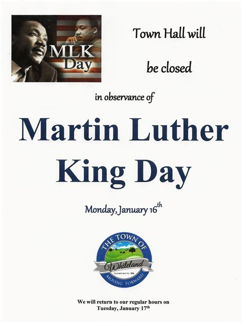 Post Office Martin Luther King Day Town Of Whiteland