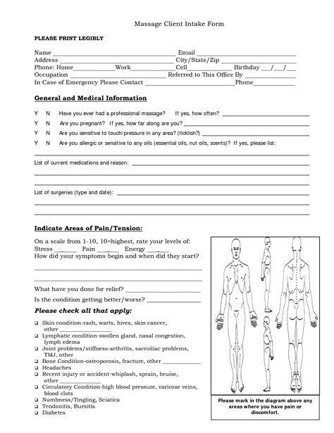 free massage intake forms massage client intake form
