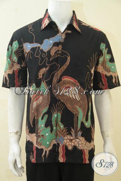 Batik Bangau Tulis hem batik kerja motif burung bangau pakaian lengan pendek