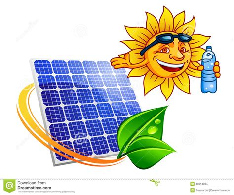 solar panel with sun eco stock vector image