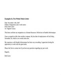 Two Weeks Notice Format by 10 Two Weeks Notice Letter Exles Free Premium Templates