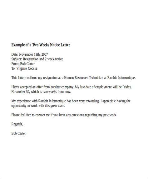 10 two weeks notice letter exles free premium