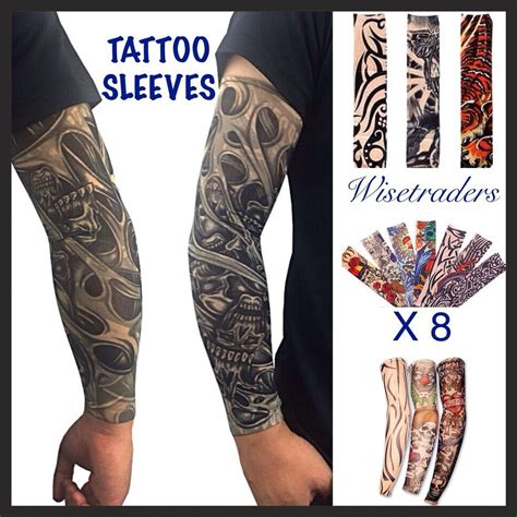 fake tattoo sleeve 8 x temporary sleeves fancy dress arm