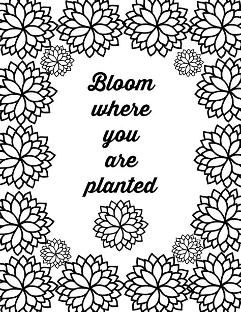 quote coloring pages free printable flower quote coloring pages