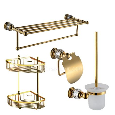 golden brass bathroom accessory sets 4