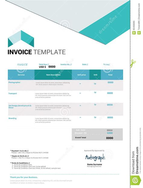 illustration invoice template invoice template design stock vector illustration of