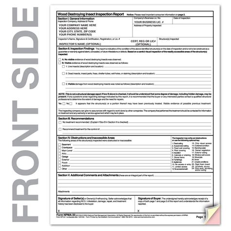 wood destroying insect certification termite inspection npma 33 termite inspection form pdf