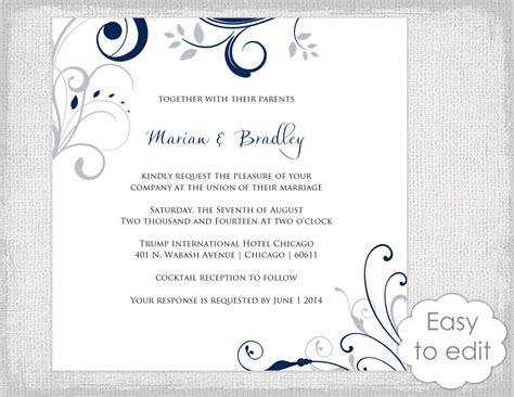 Square Wedding Invitation Template by Square Wedding Invitation Template Silver Gray And Navy Blue