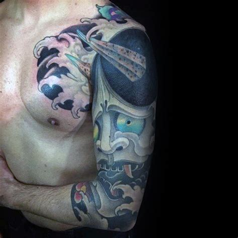half hannya mask tattoo 100 hannya mask tattoo designs for men japanese ink ideas