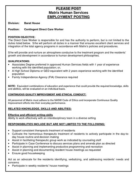 stron biz direct care worker resume sle