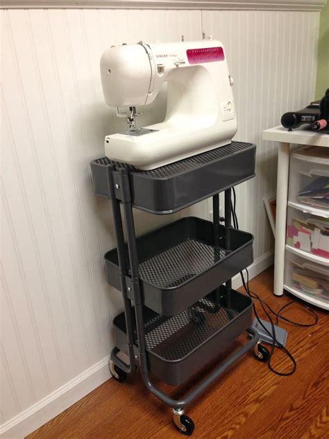 raskog cart hacks raskog flip the top basket to make a platform for sewing