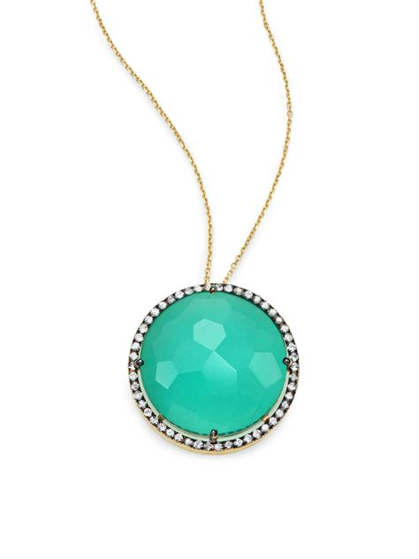 Emily And Onyx Pendant Necklace With White Sapphires by Kalan By Suzanne Kalan Green Onyx White Sapphire 14k
