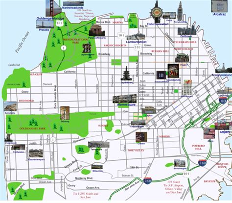 san francisco map travel san francisco landmarks map
