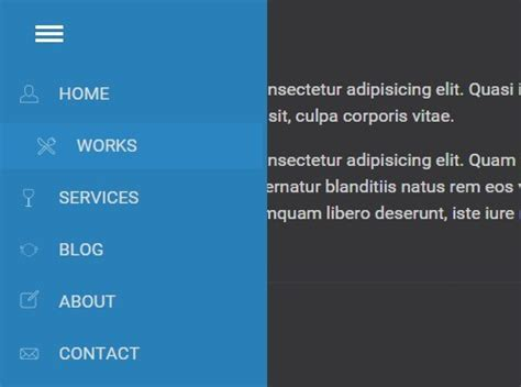 pure css off canvas sidebar navigation css script android style offcanvas sidebar navigation with jquery and