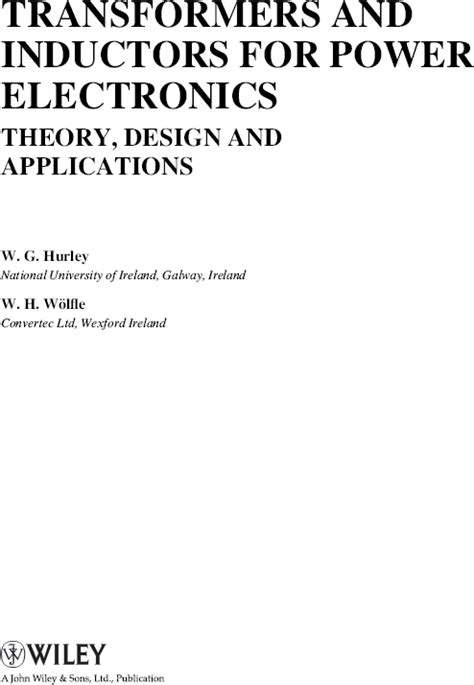 design simulation and applications of inductors and transformers for si rf ics transformers and inductors for power electronics theory design and applications 28 images