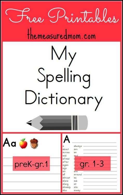 make a picture book free free printable spelling dictionary for free