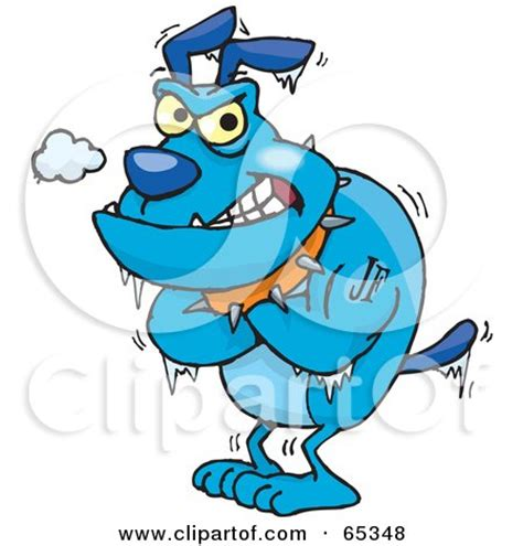 shivering and not royalty free rf clipart illustration of a shivering blue bulldog by dennis