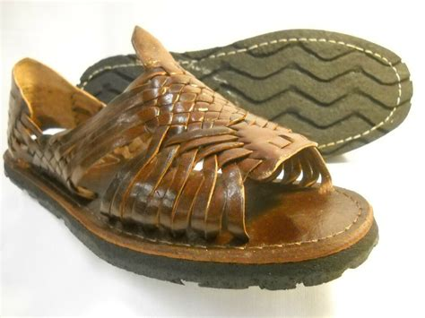 womens brown leather mexican sandal huarache ladies wtire sole  sizes ebay