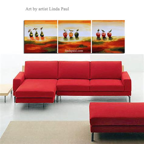 sofa wall art contemporary art paintings by painter linda paul red