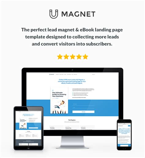 Magnet Ebook Lead Magnet Landing Page By Themekrauts Themeforest Lead Landing Page Template