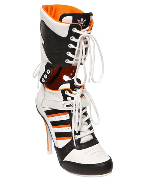 high heel sneaker boots lyst for adidas 130mm js high heel leather