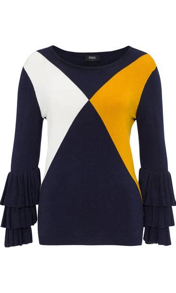 Color Block Sleeve Knit Top layered sleeve colour block knit top navy white mustard