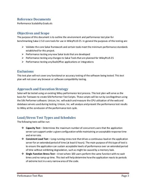 performance testing test plan template performance test plan sle 1