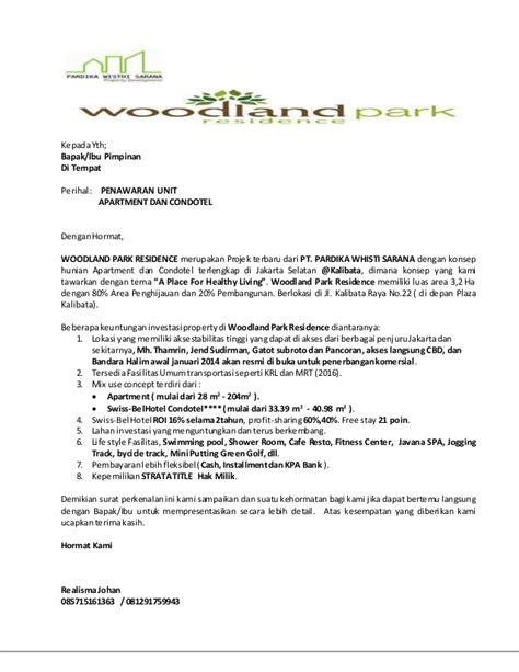 surat penawaran woodlandpark residence