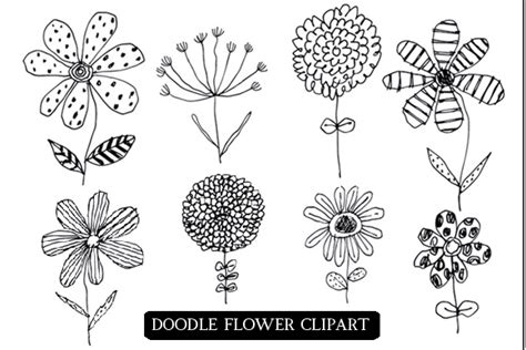 doodle flowers doodle flowers clipart and png files by colors on paper