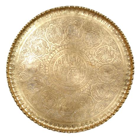 Anglo Rugs by Large Persian Antique Brass Tray At 1stdibs