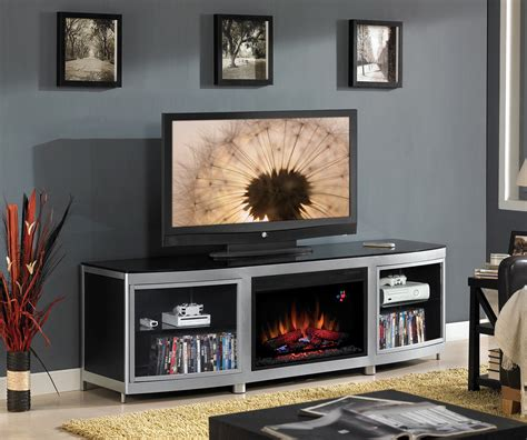 gotham fireplace credenza silver and black s