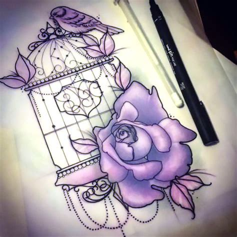 violet birdcage tattoo design