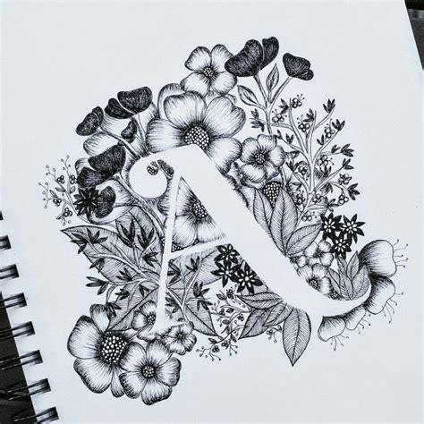 tattoo lettering and flowers letter a print alphabet calligraphy typography