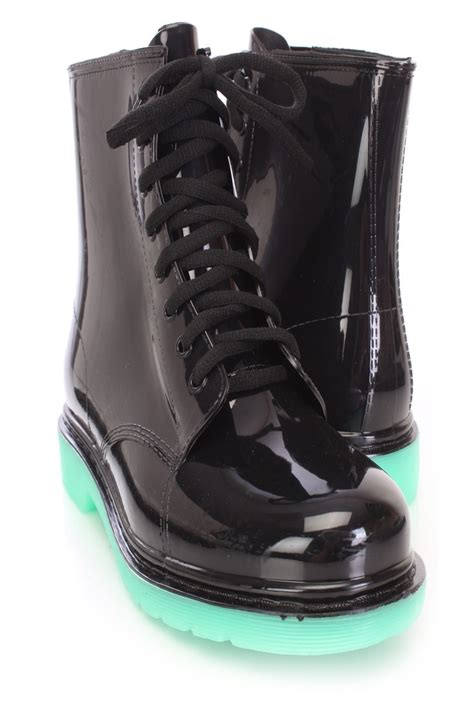 black lace up jelly boots rubber