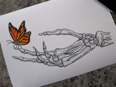 hand bone tattoo butterfly on skeleton print a4 by lhartart on etsy