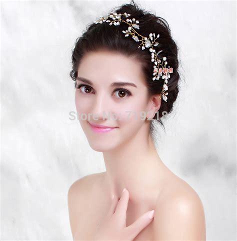 50 wedding hair styles with tiara handmade bride golden crystal pearl flower hairband
