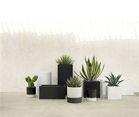 black and white planters patio furniture and decor trend bold black and white
