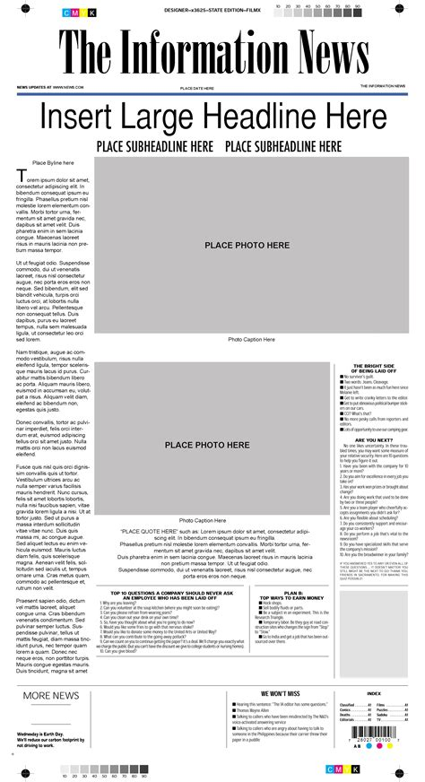 mock page template mock newspaper front page template