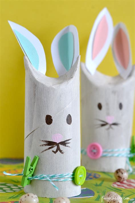 Easter Toilet Paper Roll Crafts - poofy cheeks toilet paper roll bunnies