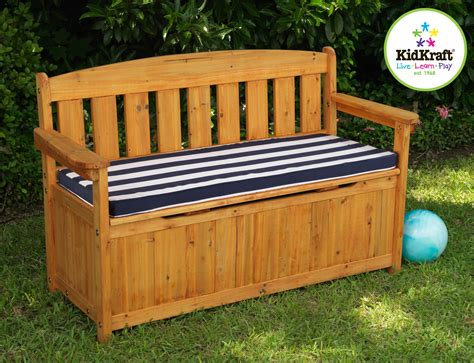 outdoor wood storage bench kidkraft outdoor storage bench with cushion by oj commerce