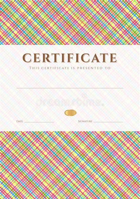 colorful certificate template certificate diploma award template pattern stock vector