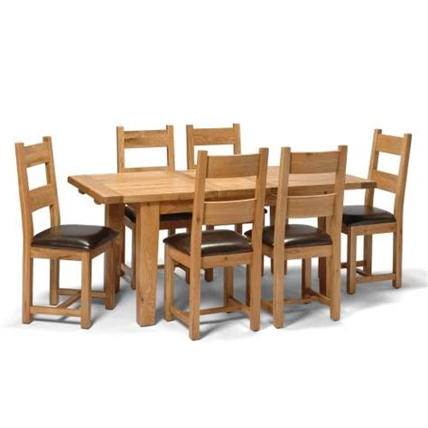 vancouver oak 140 180cm table and 6 leather seat chairs
