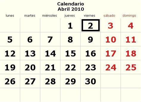 Calendario Abril 2010 Calendario Abril 2010 Definanzas