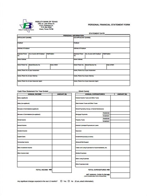 download the personal financial statement word format