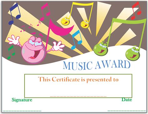 templates for music awards smiley face music award certificate