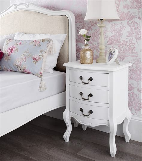 chic bedroom furniture shabby chic white 3 drawer bedside table bedroom