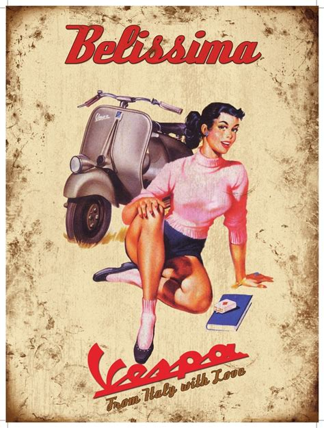 imagenes vespa retro vespa belissima large steel sign og 4030