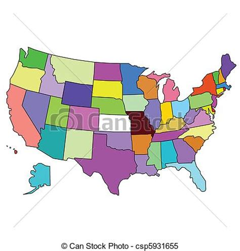 usa map you can color clipart vector of color map of usa csp5931655 search