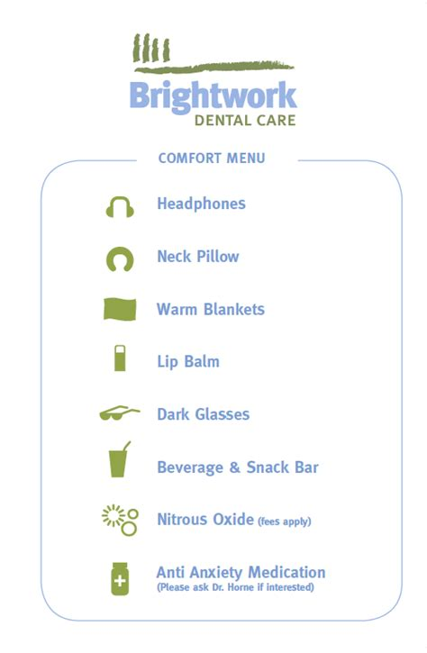 comforts menu brightwork dental